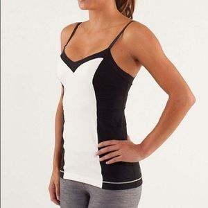 Lululemon elongate black white adjustable tank top